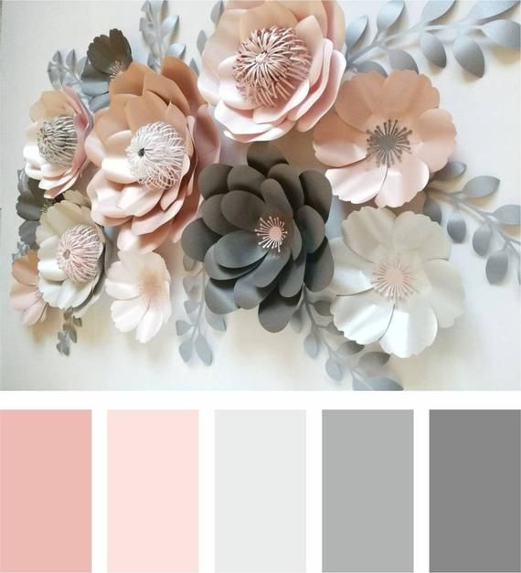 Dusty pink paper flowers - paper flowers wall decor - baby shower decoration - birthday party floral backdrop - wedding paper decoration
