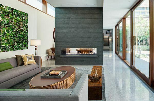 Salon moderne et cheminée design : un mariage parfait | Peau de ...