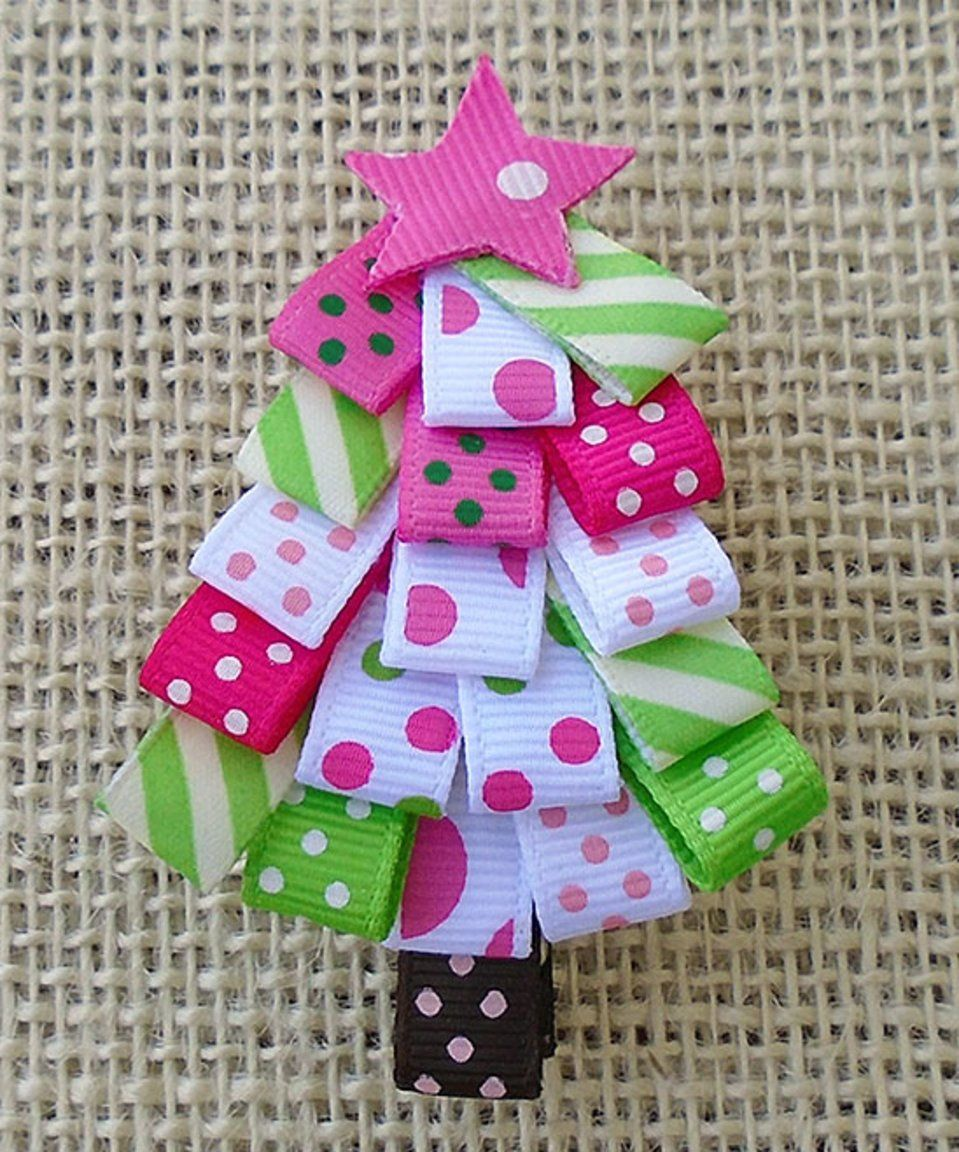 Take A Look At This Pink Green Christmas Tree Hair Clip Today Christmas Tree Hair Christmas Hair Accessories Green Christmas Tree