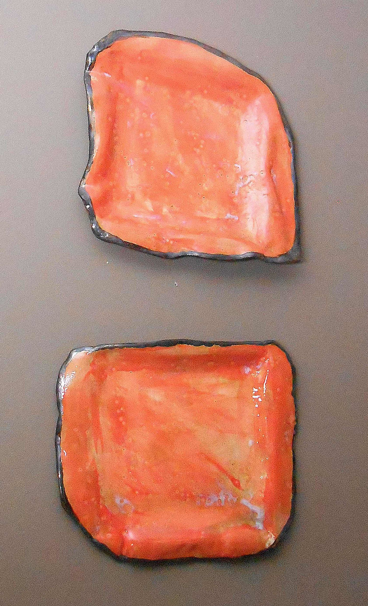 Set Of 2 Medium Orange And Gold Modern Wall Sculpture Plates