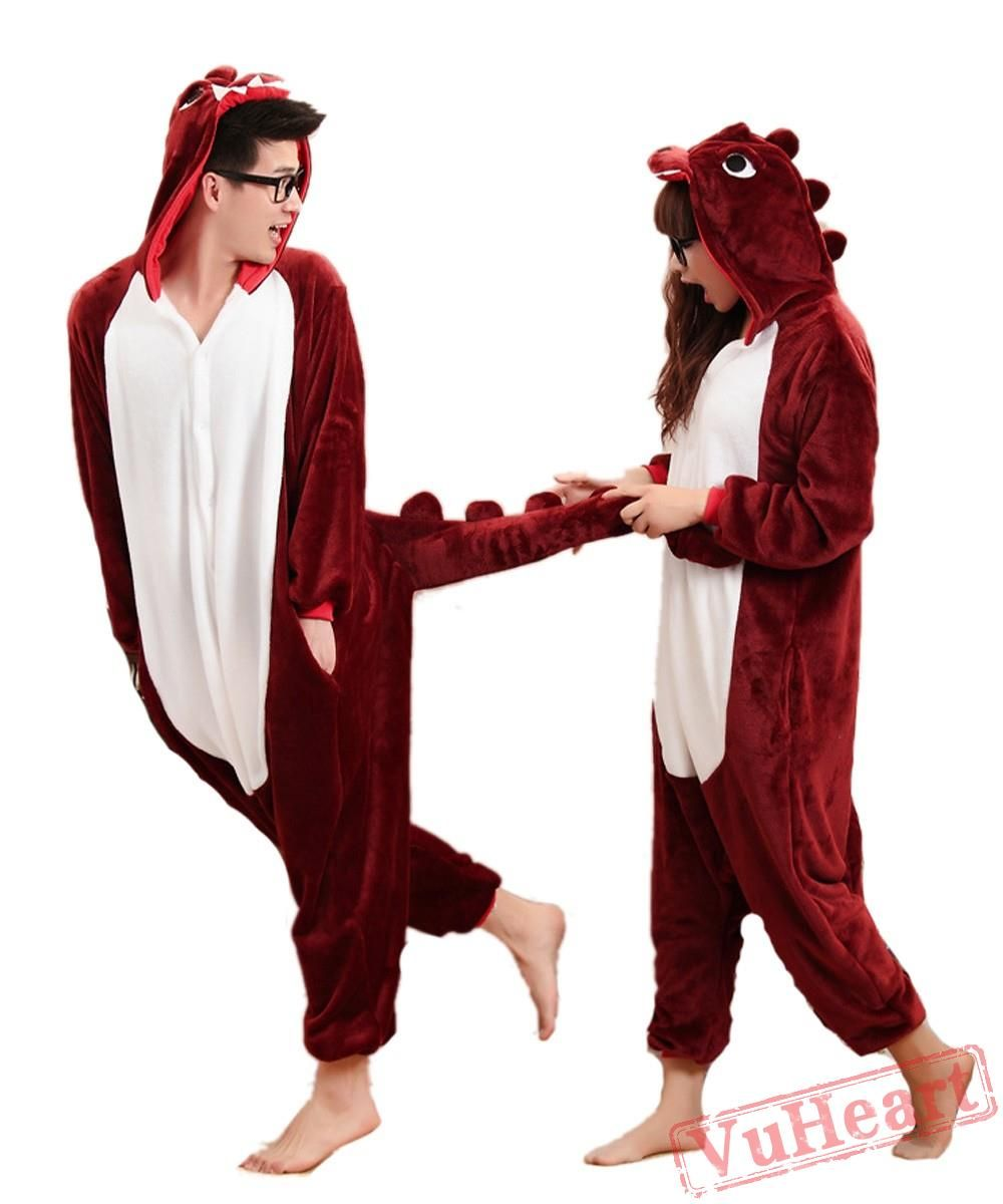 a477b144 Brown Red Dinosaur Sleep Kigurumi Onesies Pajamas Costumes for Women ...