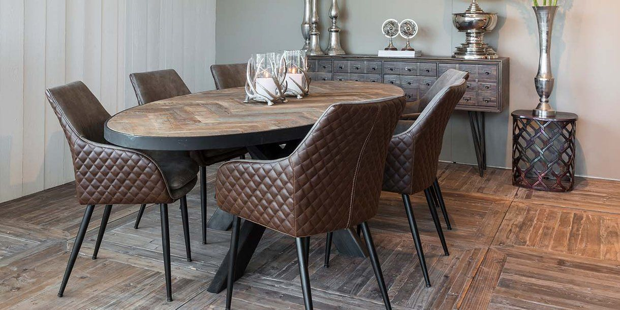 Sussex Oak Parquet Industrial Oval Dining Table Dining Table