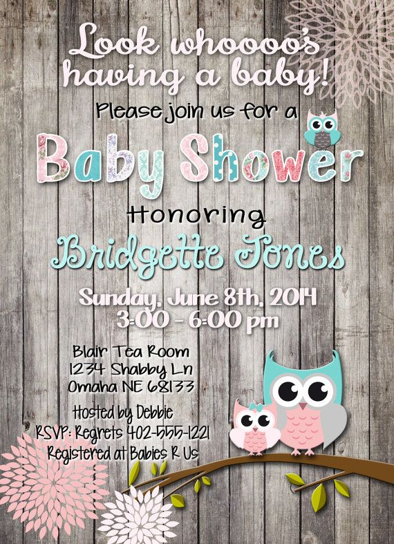 Shabby Chic Owl Baby Shower Pink Or Blue Teal Shabby Owl Invite
