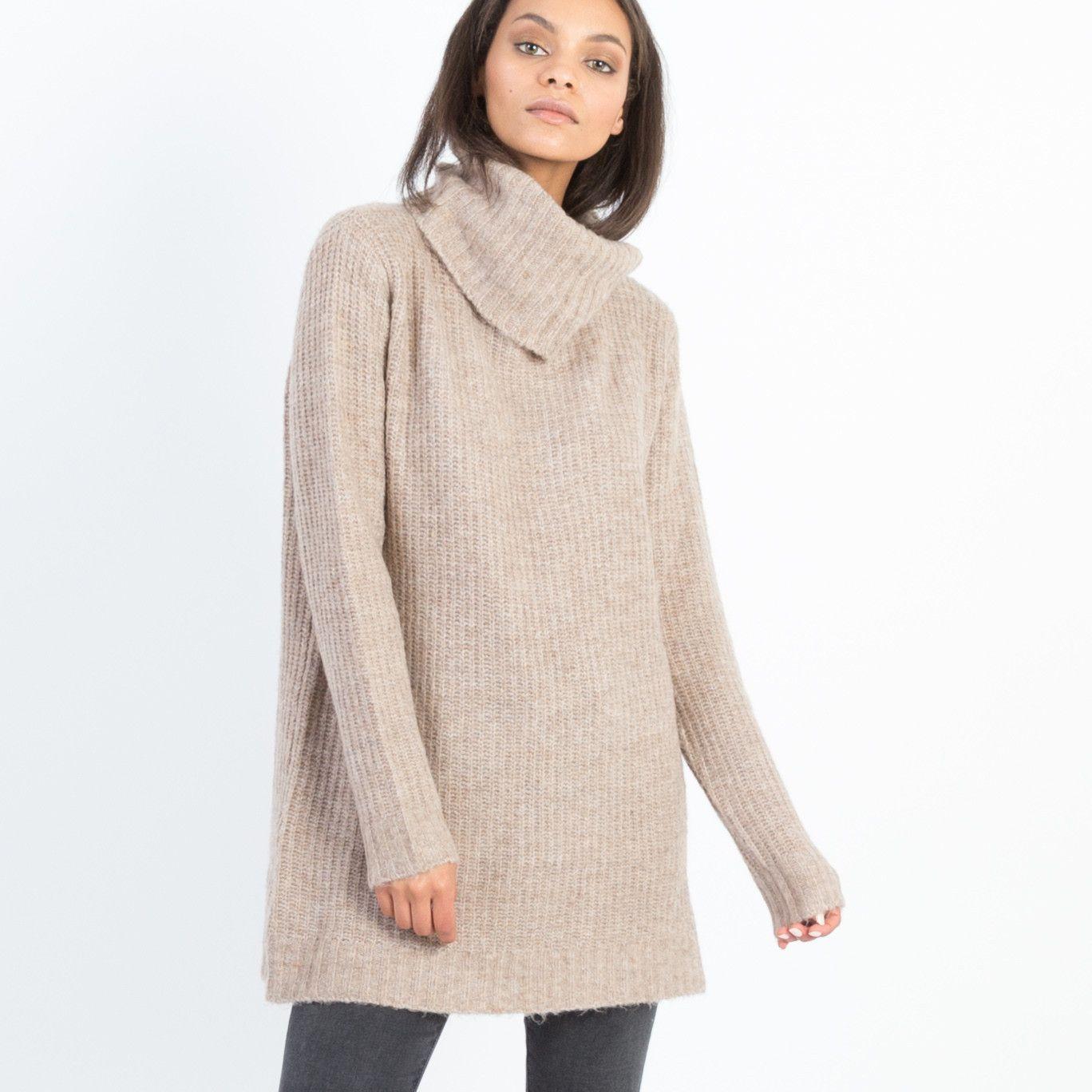 Noa Turtleneck Tunic Sweater (Camel) | Products | Pinterest ...