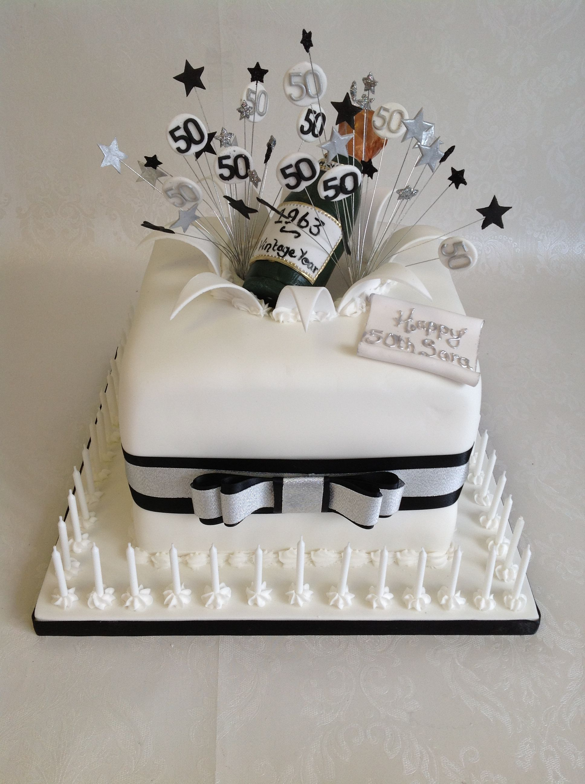 Black and Silver theme champagne \'cube\' cake | Black & Gold / Silver ...