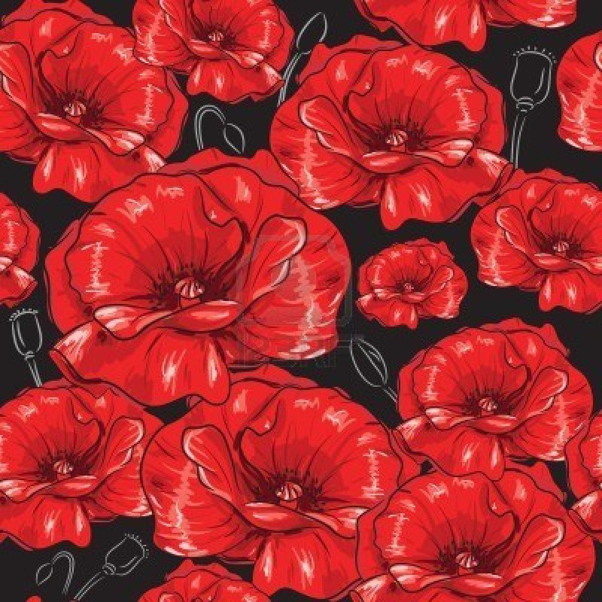 Stock Vector Red poppies, Flower painting, Poppies