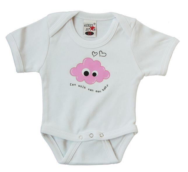 Rompertje maat 56 met roze GeluksWolkje opdruk. Ook in verschillende cadeau-pakketjes verkrijgbaar met GeluksWolkje sleutelhanger of tashanger erbij. Altijd feestelijk ingepakt! Leuk als kraamcadeautje, of voor jouw eigen 'wolk van een baby' natuurlijk! www.gelukswolkje.nl