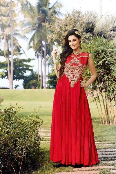 Thankar New Western Style Designer Heavy Red Embroidery Gown Fancy