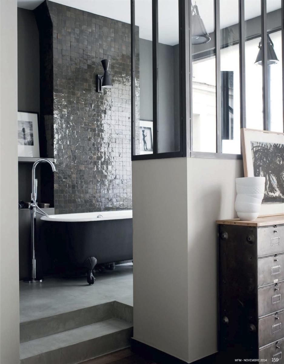 Salle de bain sobre et chic badkamer pinterest bathroom bath en room for Salle de bain chic