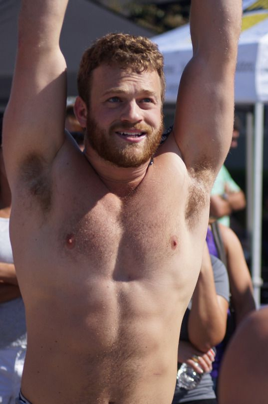Shirtless guys with hairy armpits