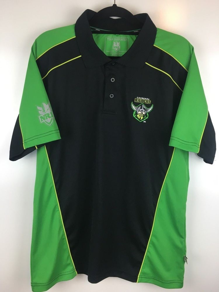 Canberra Raiders Size M Nrl Supporter Jersey Playcorp Polo Shirt Top Polyester Playcorp Polo Shirt Mens Outfits Shirts