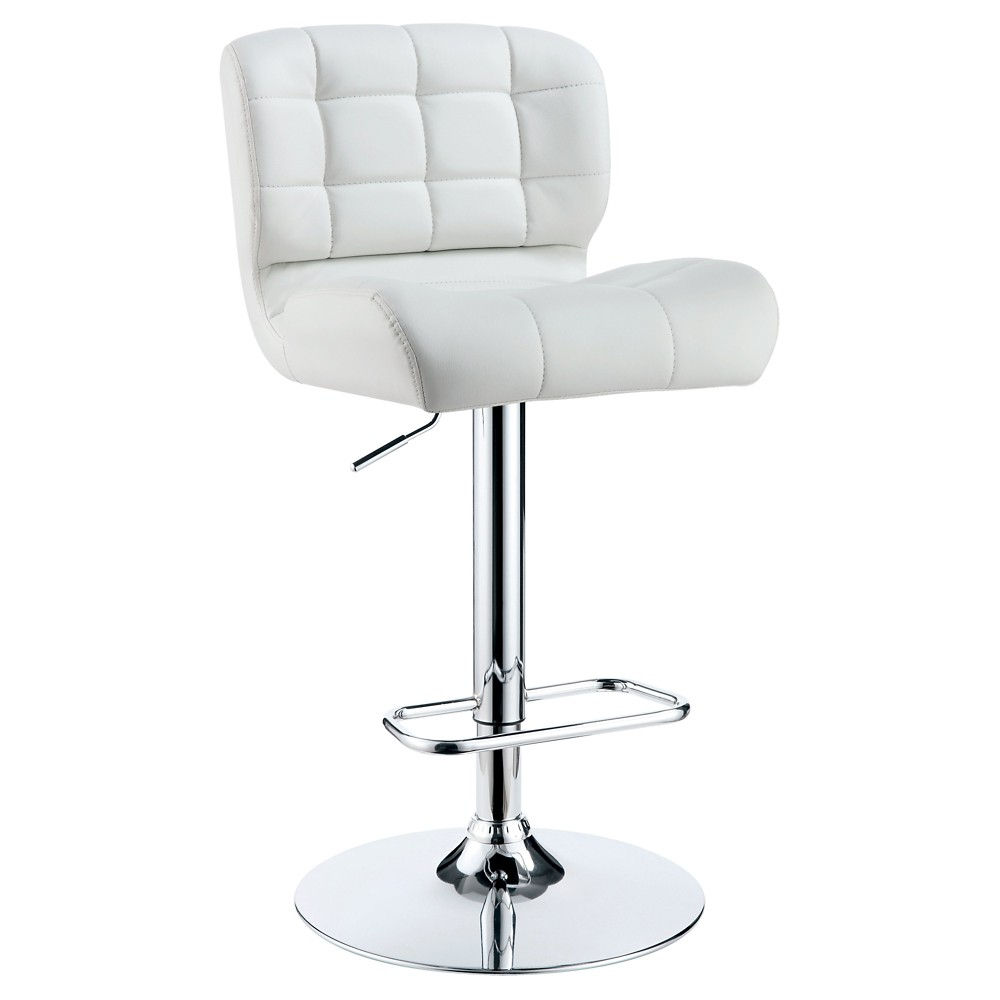 Riley Adjustable Leatherette Barstool White Furniture Of