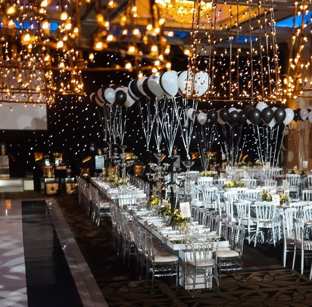 Balloons And Fairy Lights Gaduation Dinner Party By The