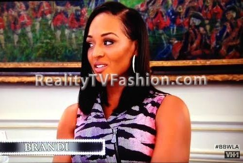 "Brandi Maxiell's Purple & Pink Tiger Print Zipfront Dress on ""Basketball Wives L.A."""