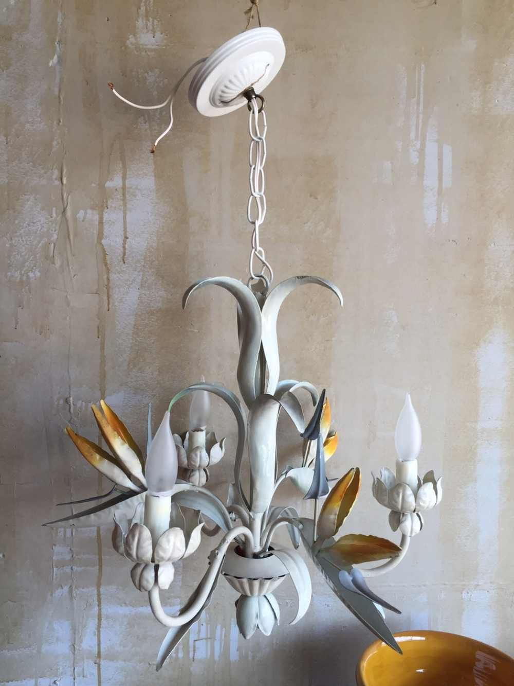 Vintage tole chandelier with bird of paradise chandeliers vintage tole chandelier with bird of paradise arubaitofo Image collections