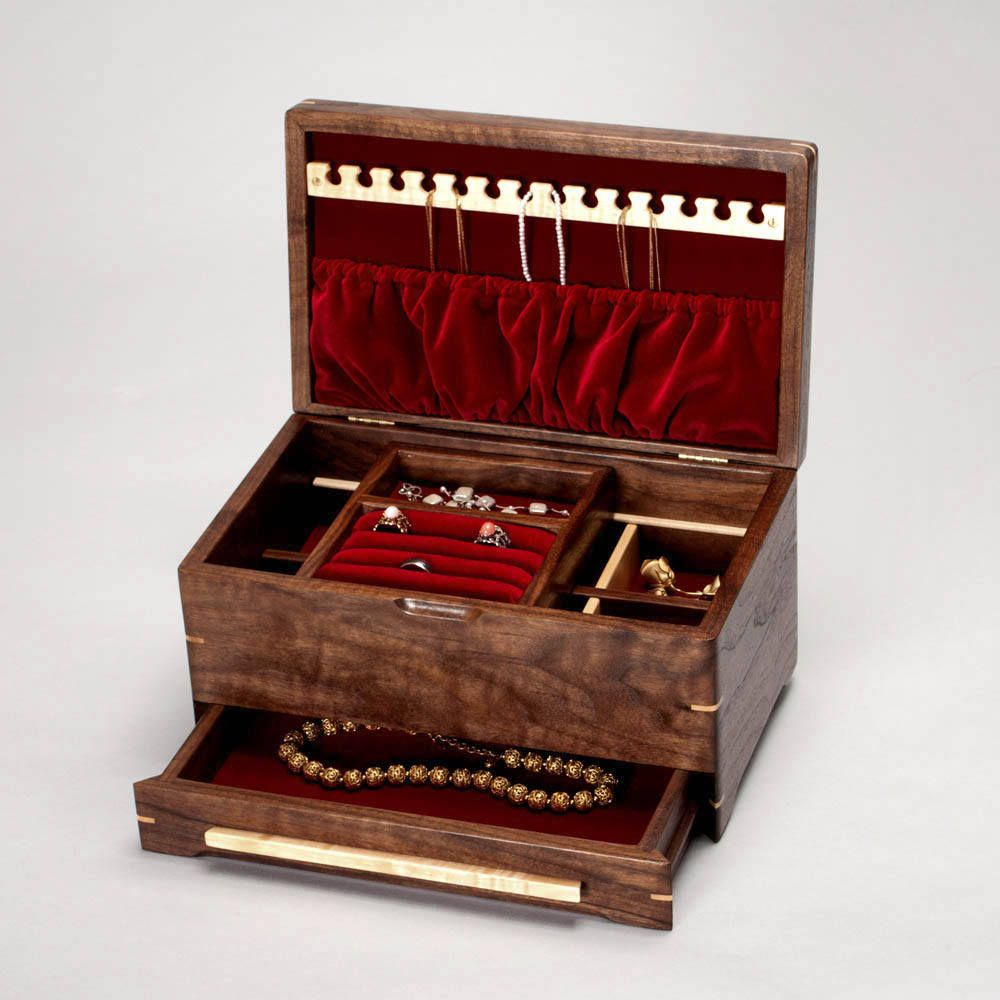 Wooden Jewelry box Walnut Jewelry box w Ring Holder Jewelry Box