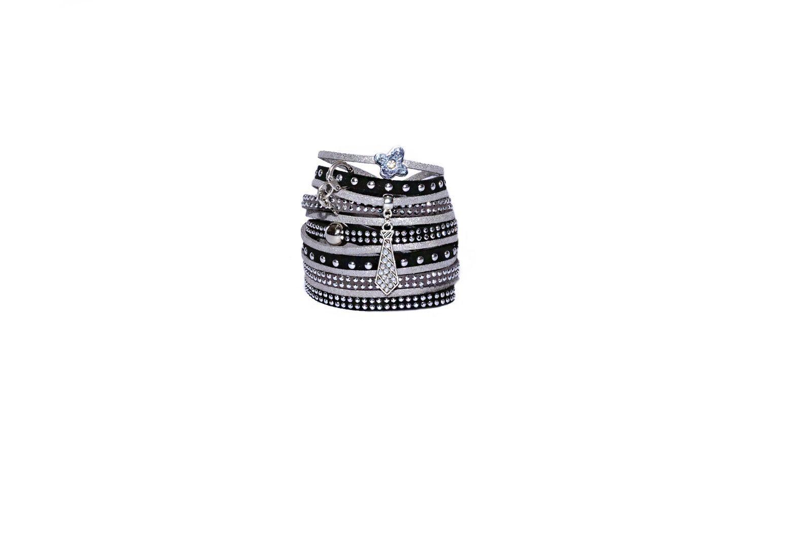 Bracelet manchette double gris et noir en suédine daim : Bracelet par les-bijoux-de-petiteauguai
