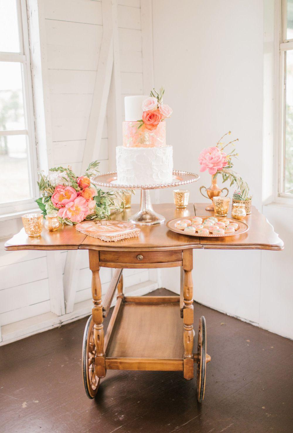 Copper and rose whimsical wedding wedding cake backdrop