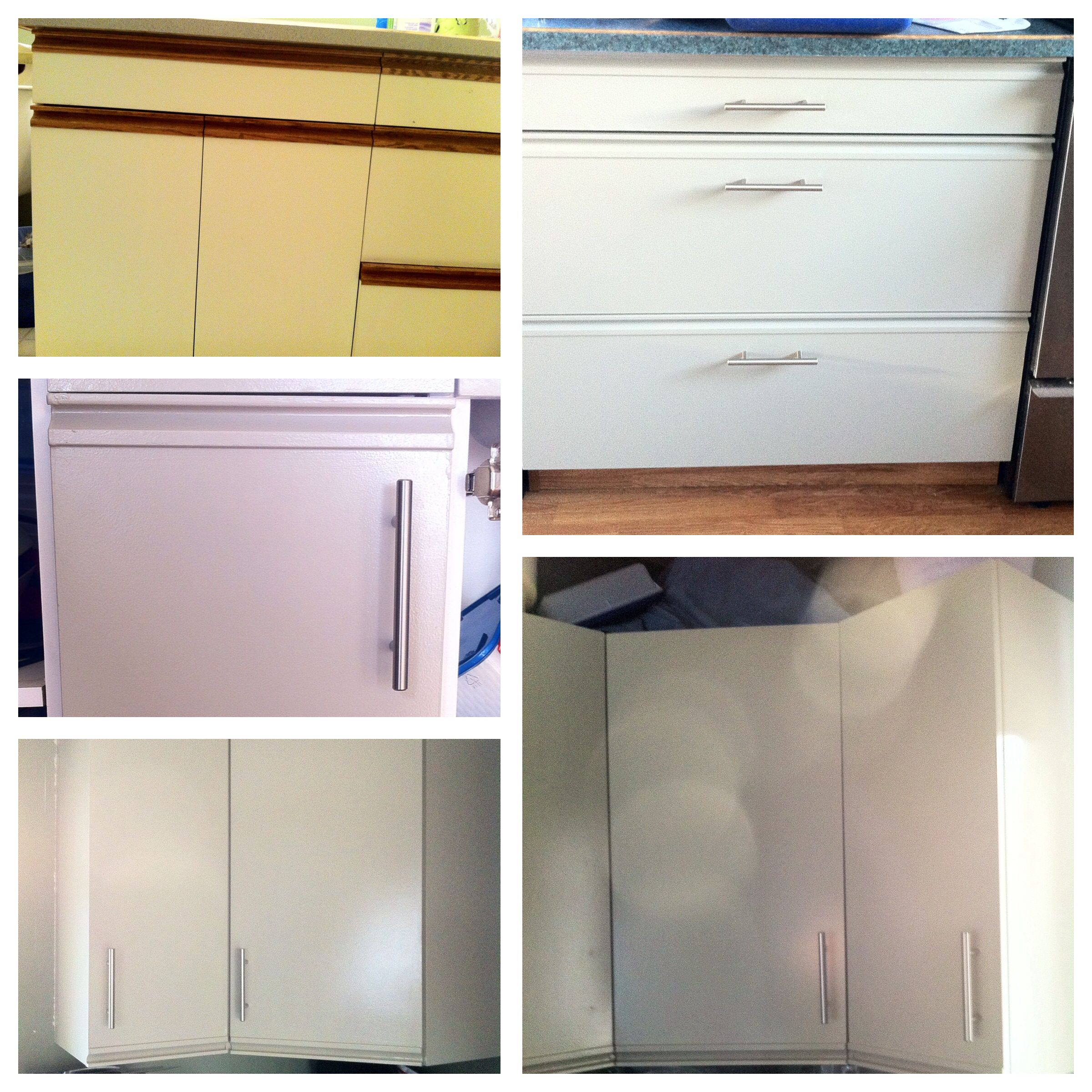 How To Update Laminate Kitchen Cabinets Diy Painted Cabinets Painting Laminate Melamine Kitchen
