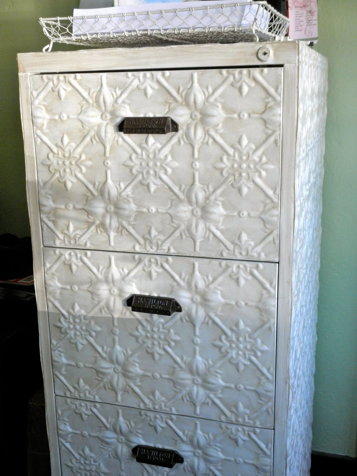 Diy Filing Cabinet Makeover Pressed Tin For The Home