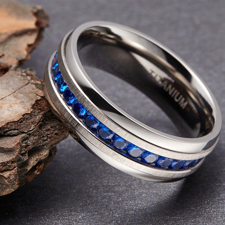 Blue Cubic Zirconia Titanium Wedding Bands for Men 8mm