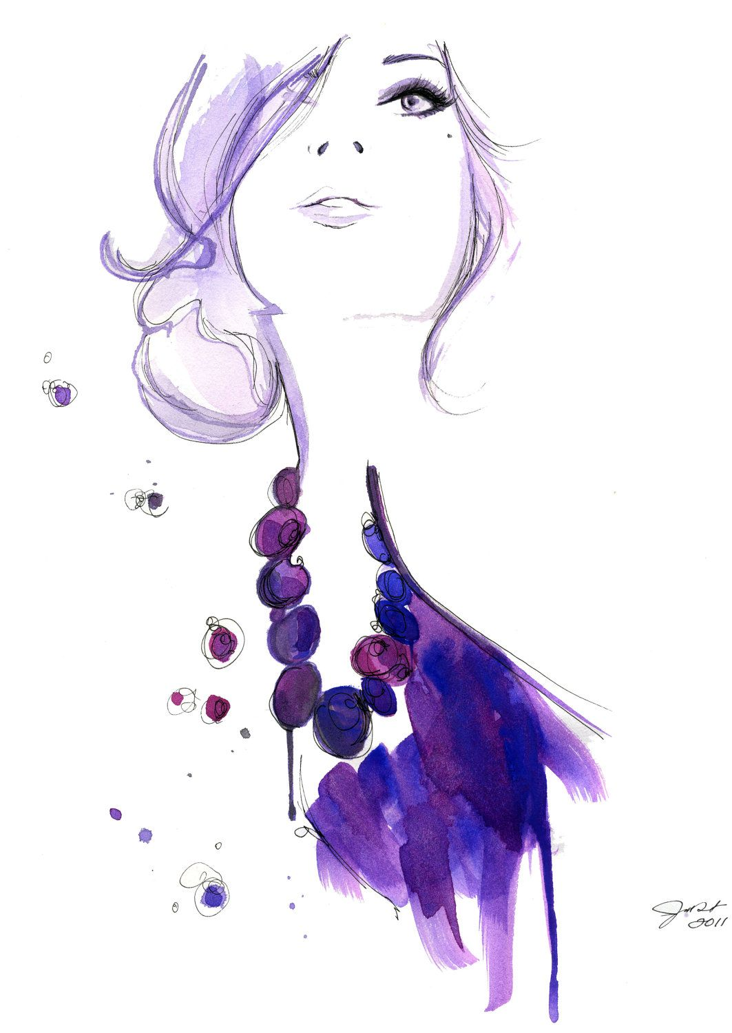 watercolor fashion illustration floating beads print