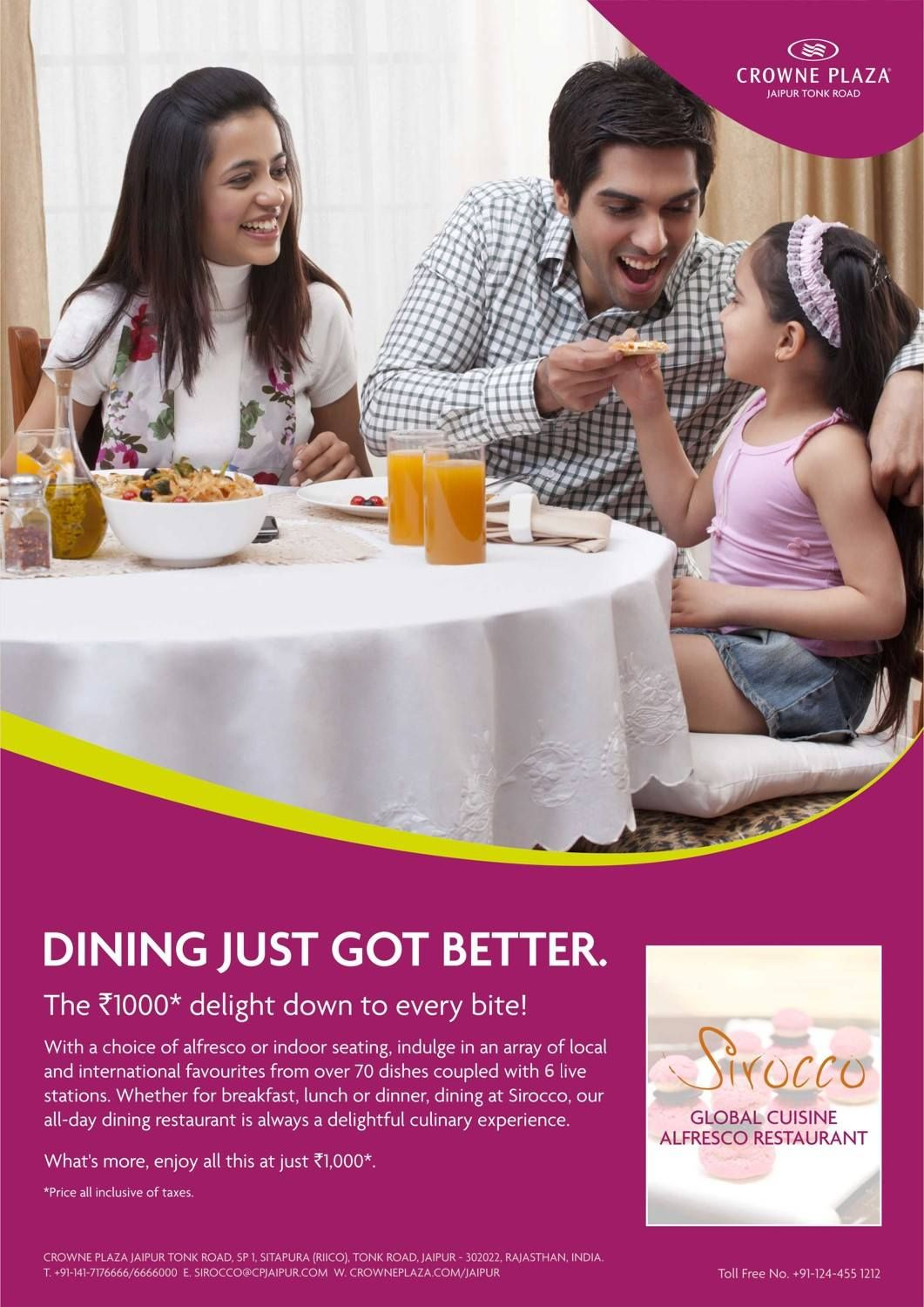 Elevate your dining experience. Come dine at #Sirocco and savor cuisines from all over the world at 1000* INR!
