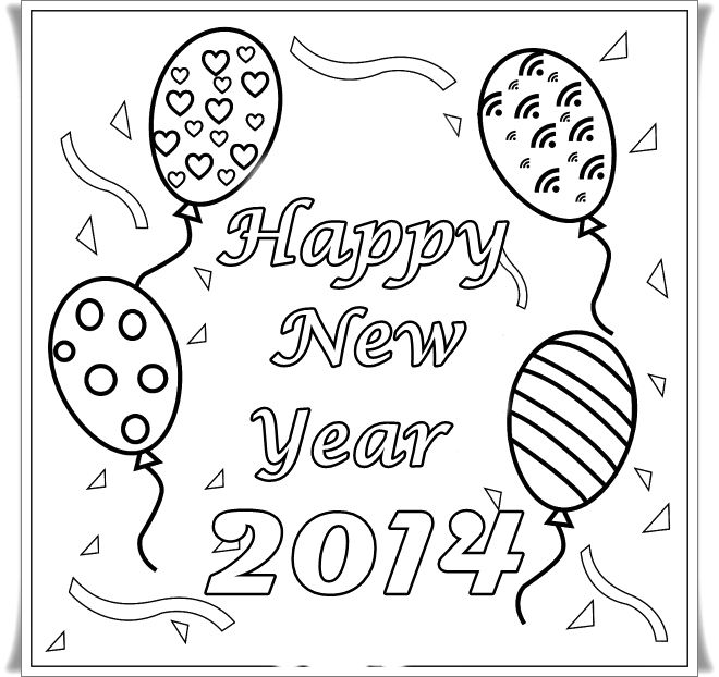 2014 Happy New Year Card Coloring Pages  New Year Coloring Pages