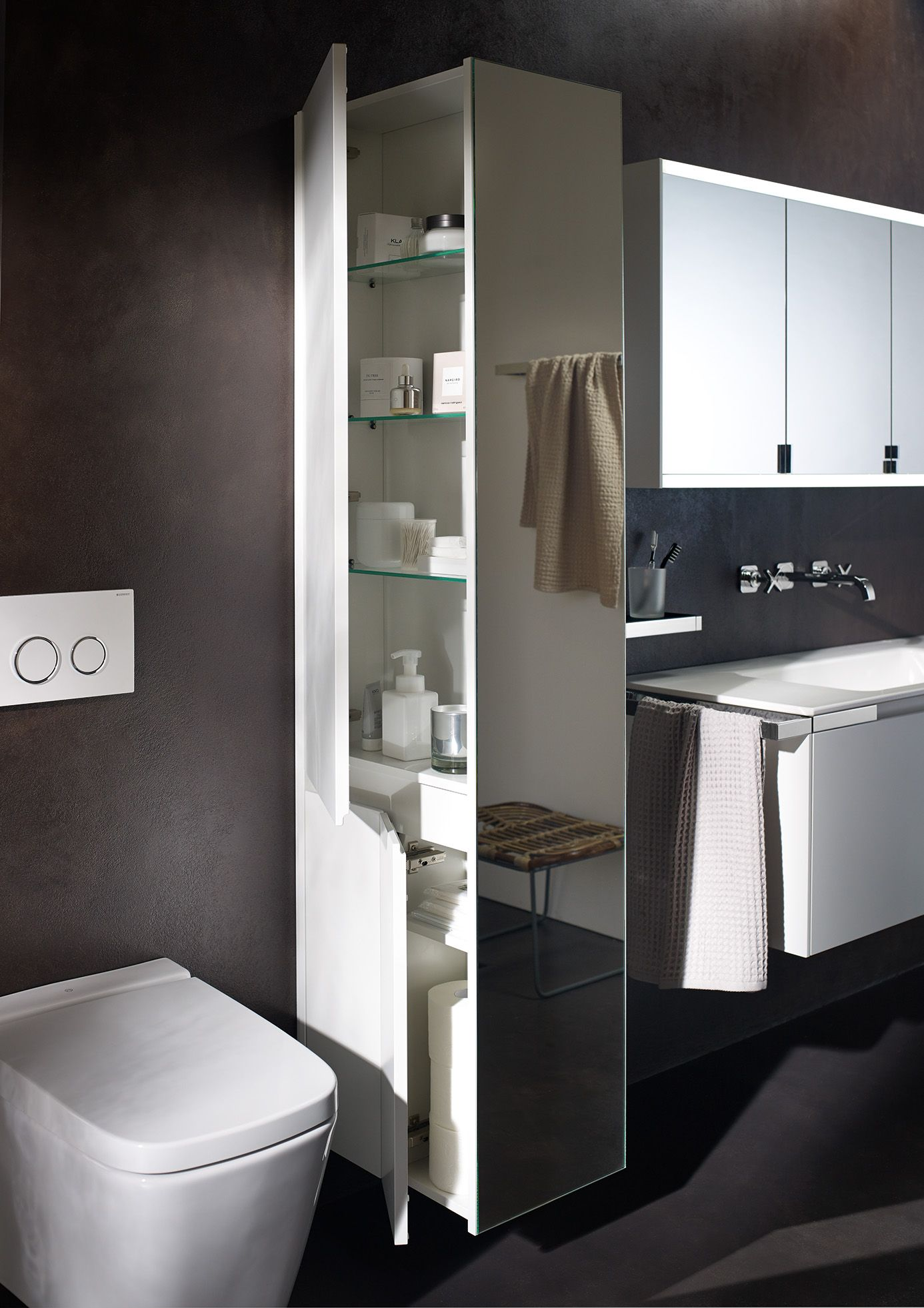 Burgbad yso tall unit with mirror and also a useful room for Room divider for bathroom