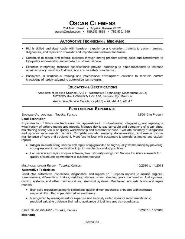 Auto Mechanic Resume Sample Monster And Cover Letter Resume Examples Resume Objective Examples Job Resume Samples
