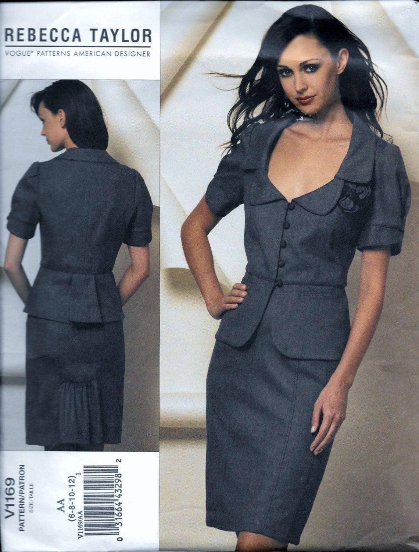 Vogue 1169 rebecca taylor designer women business suit jacket vogue 1169 rebecca taylor designer women business suit jacket skirt sewing pattern v1169 size 6 jeuxipadfo Images