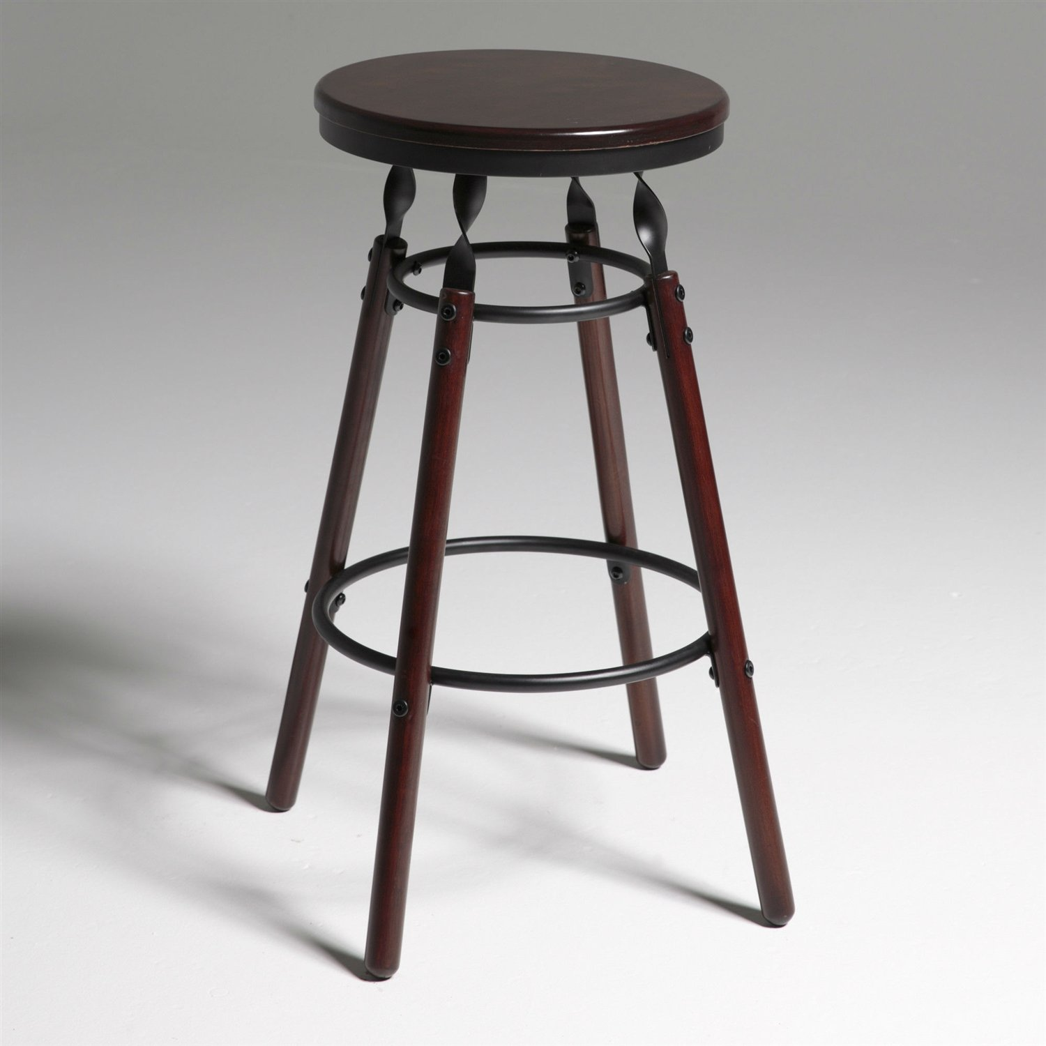 Dark Cherry Finish Wood Barstool With 30 Inch High Seat