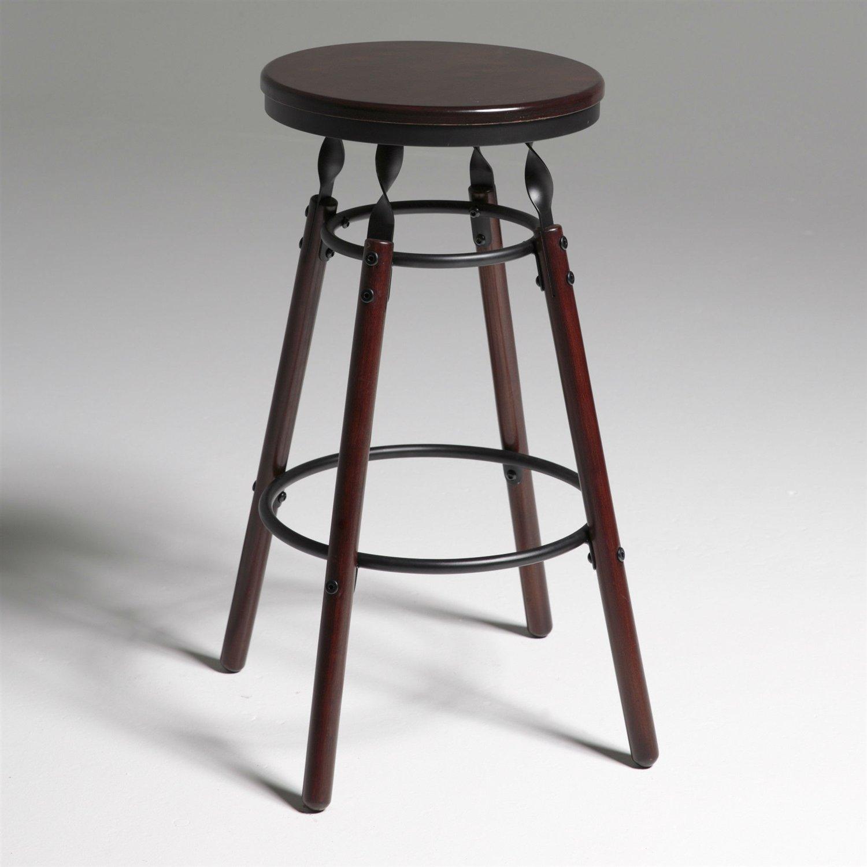 Dark Cherry Finish Wood Barstool With 30 Inch High Seat