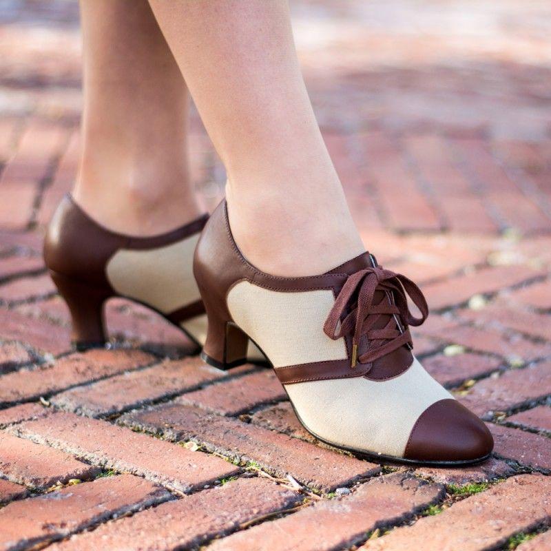 Evelyn Retro Oxfords Tan Brown Retro Heels Vintage Style Shoes Vintage Shoes Women