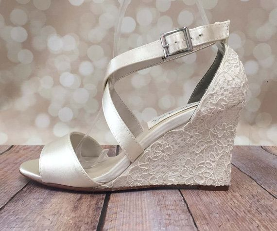 Ivory Wedding Shoes Lace Wedges By Elliewrenweddingshoe