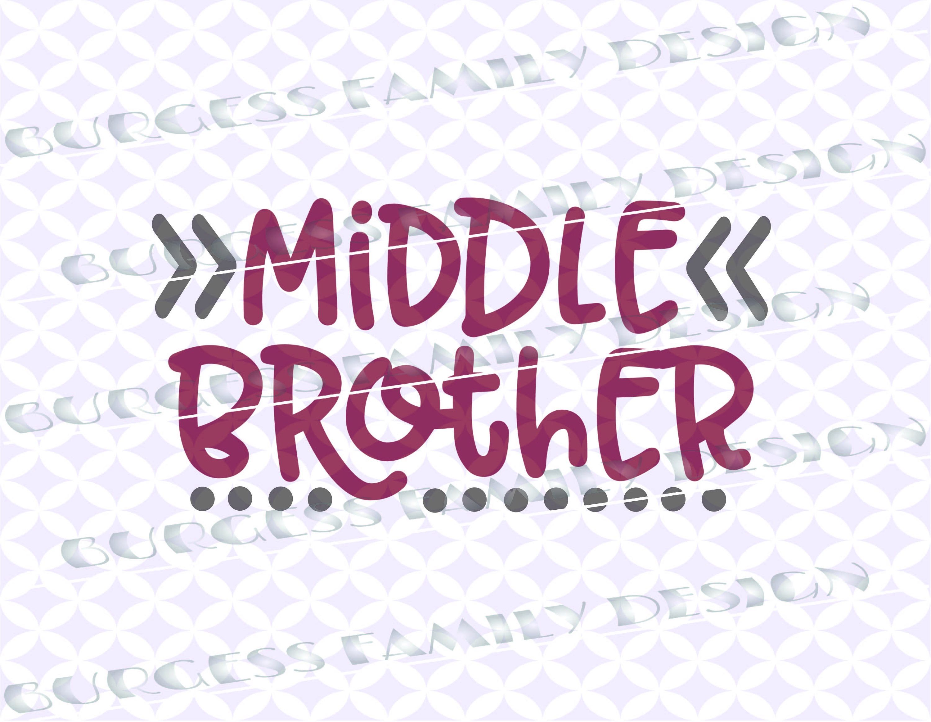 Middle Brother Arrow Dots New Baby Sibling Shirts Cuttable