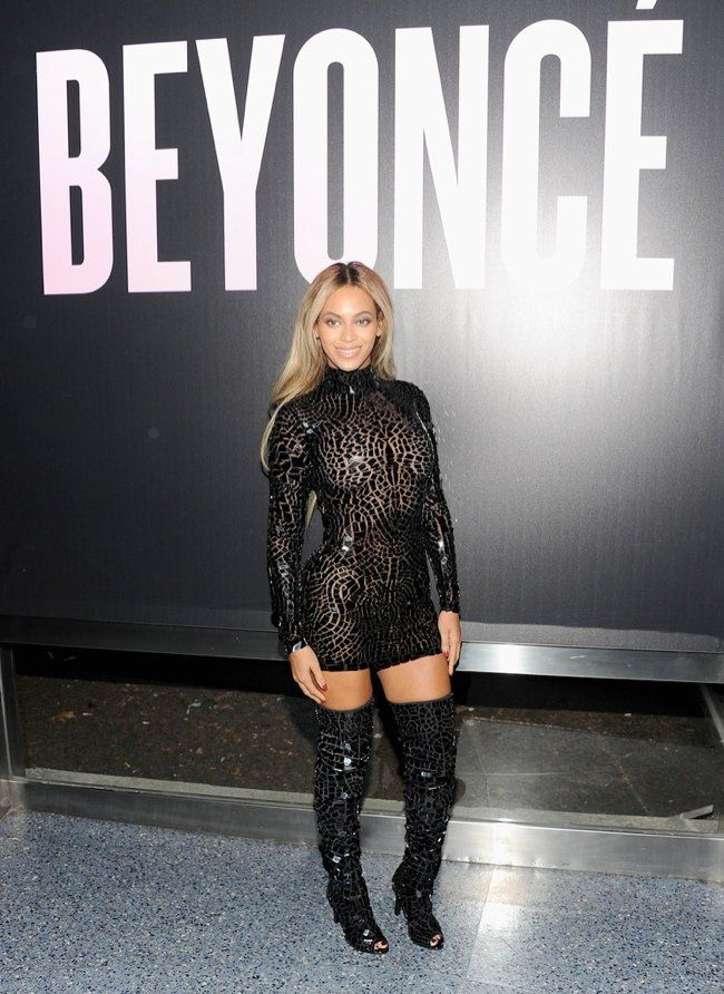 efb39b8e09ad6 Beyonce' in Tom Ford black mosaic dress and thigh- high boots, in NYC at  her album release party last night!