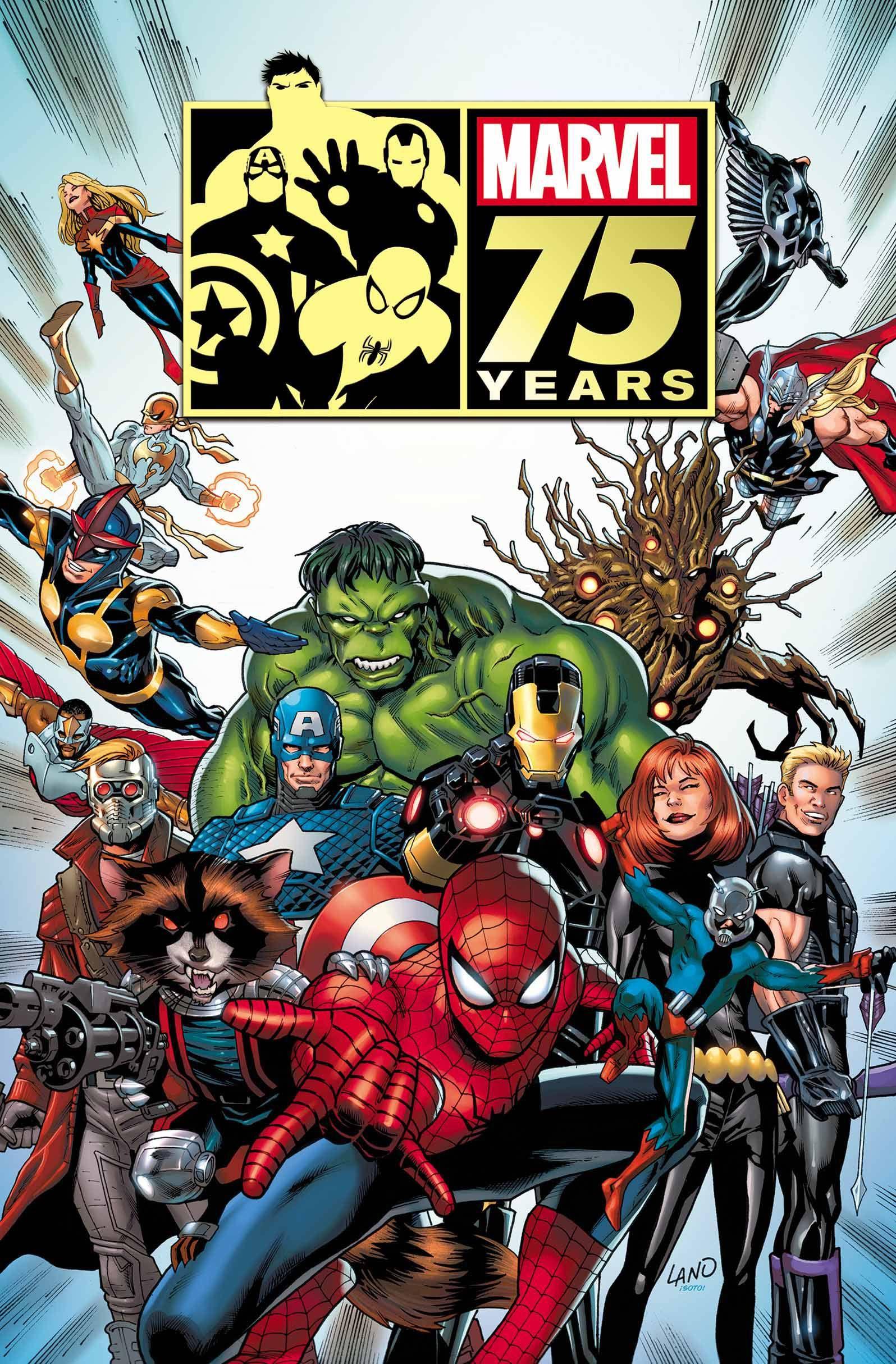 #Marvel #Fan #Art. (MARVEL 75TH ANNIVERSARY MAGAZINE POSTER) By: Greg Land. (THE * 5 * STÅR * ÅWARD * OF * MAJOR ÅWESOMENESS!!!™) ÅÅÅ+