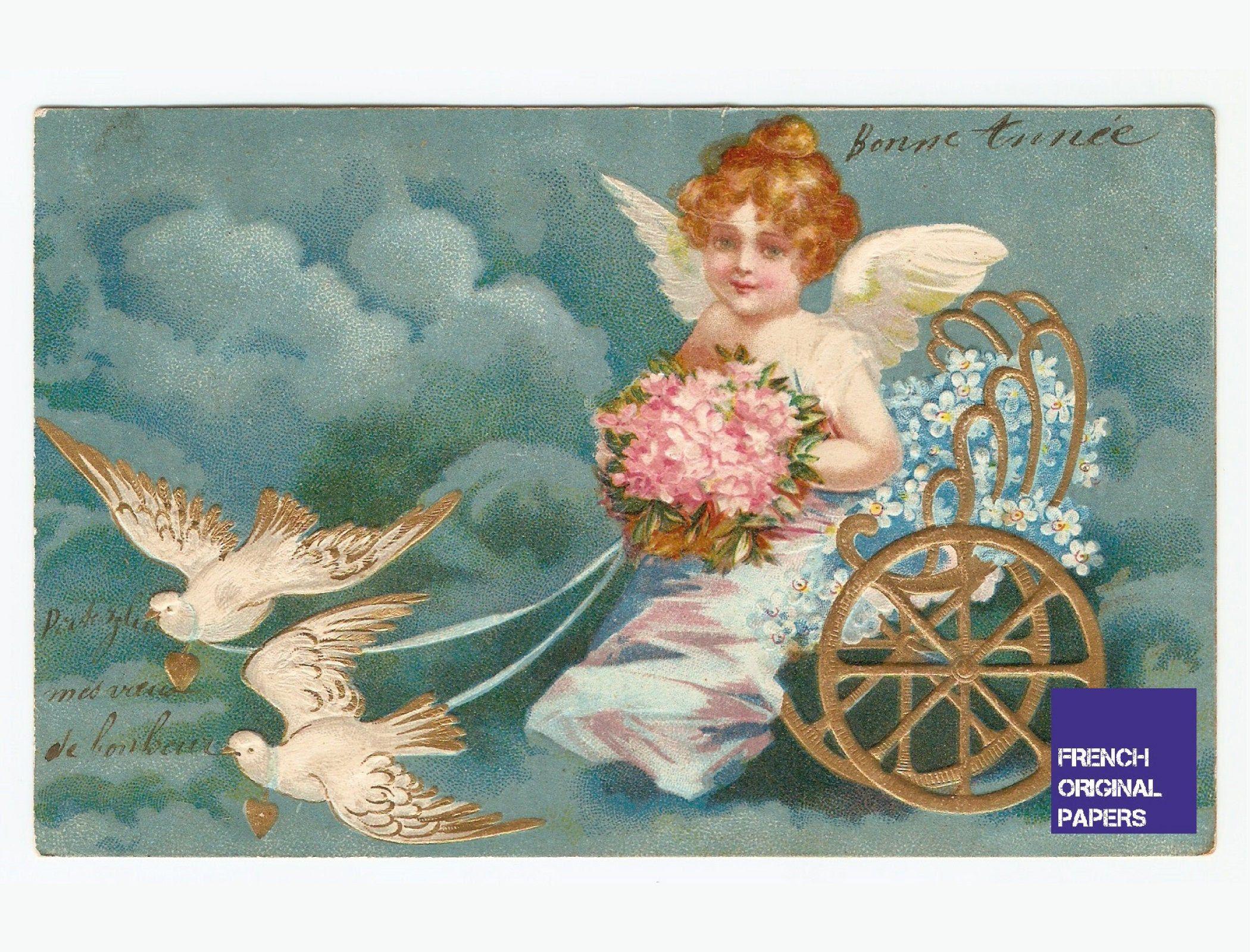 Voeux de bonne année carte postale ancienne illustrateur 1906 enfant ange angelot colombe coeur amour attelage ephemera vintage