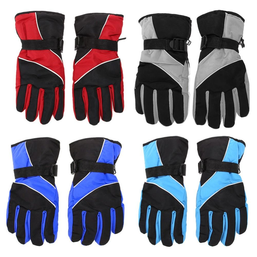 One Pair Mens Gloves Adjustable Wrist Strap Thermal Waterproof Skiing Gloves For Winter Outdoor Sports Snowboarding Sledging