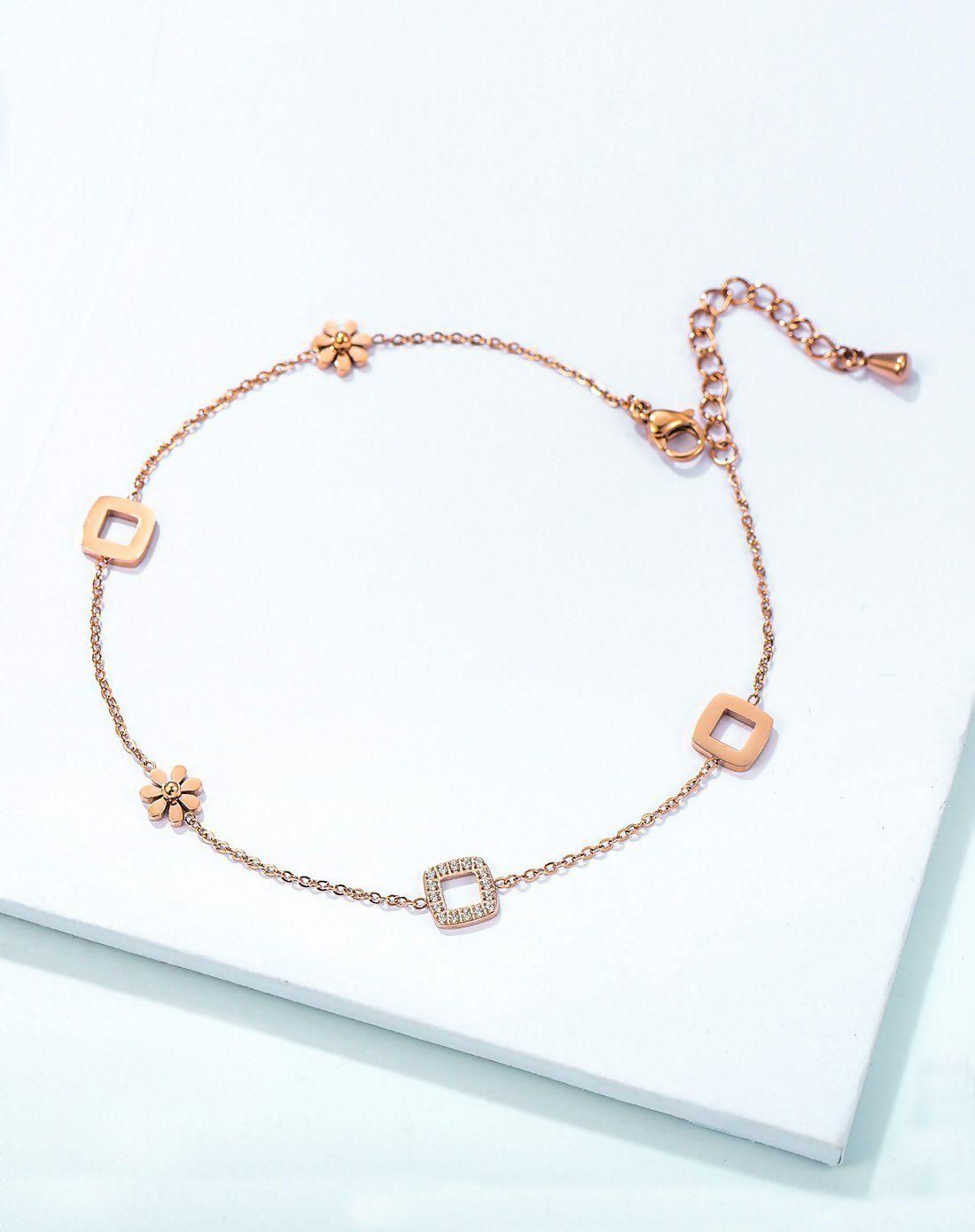bracelets paved anklet crystal rose ankle gold chain charm plated bracelet steel stainless product terse link