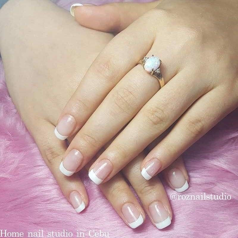 Classic French Tips Done With Gel By N Roz Of Roz Nail Studio Cebu Nail Studio Gel French Tip