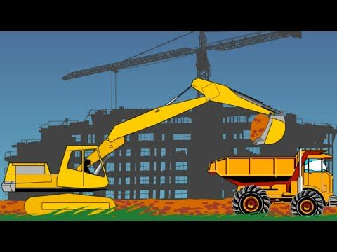 Trucks Construction Builder Games for kids Diggers Backhoe Excavator