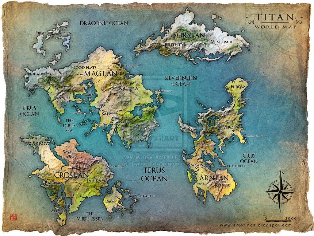 TITAN world map by Tsabo6 on deviantART | Fantasy world ...