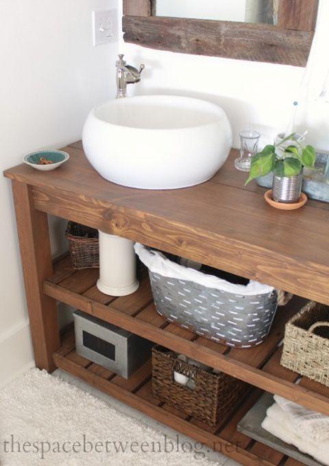 Diy Wood Vanity In The Master Bathroom Bathroom Interior Design