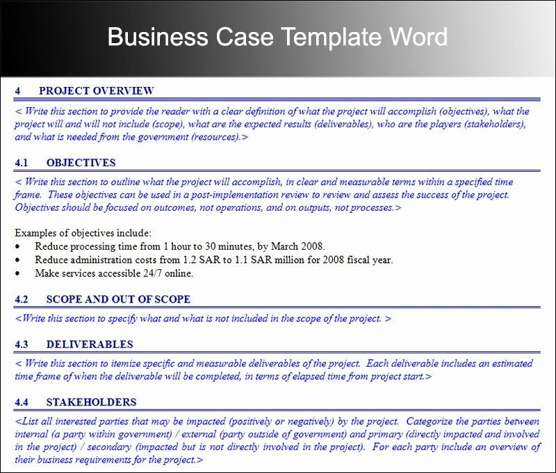 Business Case Template Word Awesome 8 Business Case Template Free