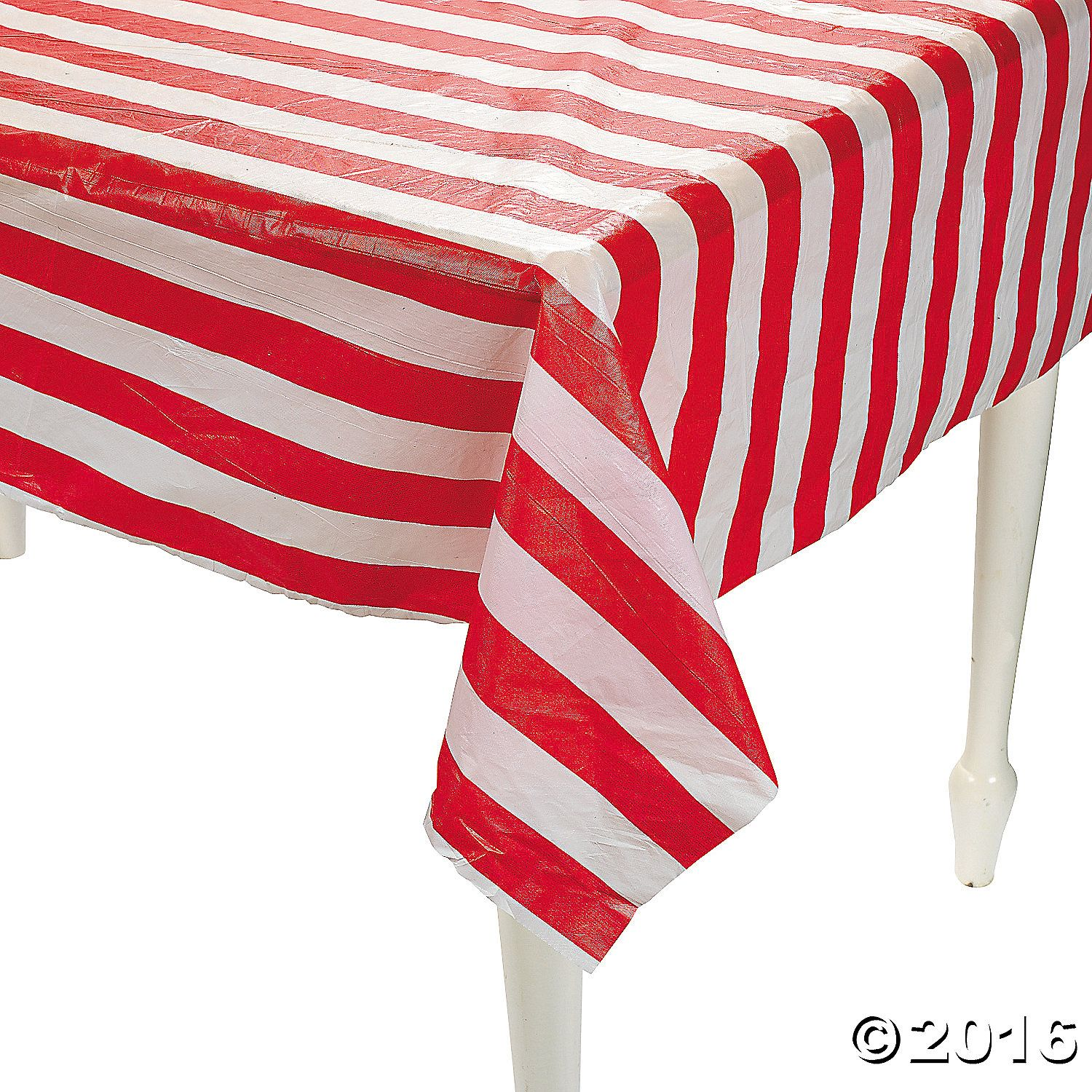 Red White Striped Plastic Tablecloth Roll Red White Stripes