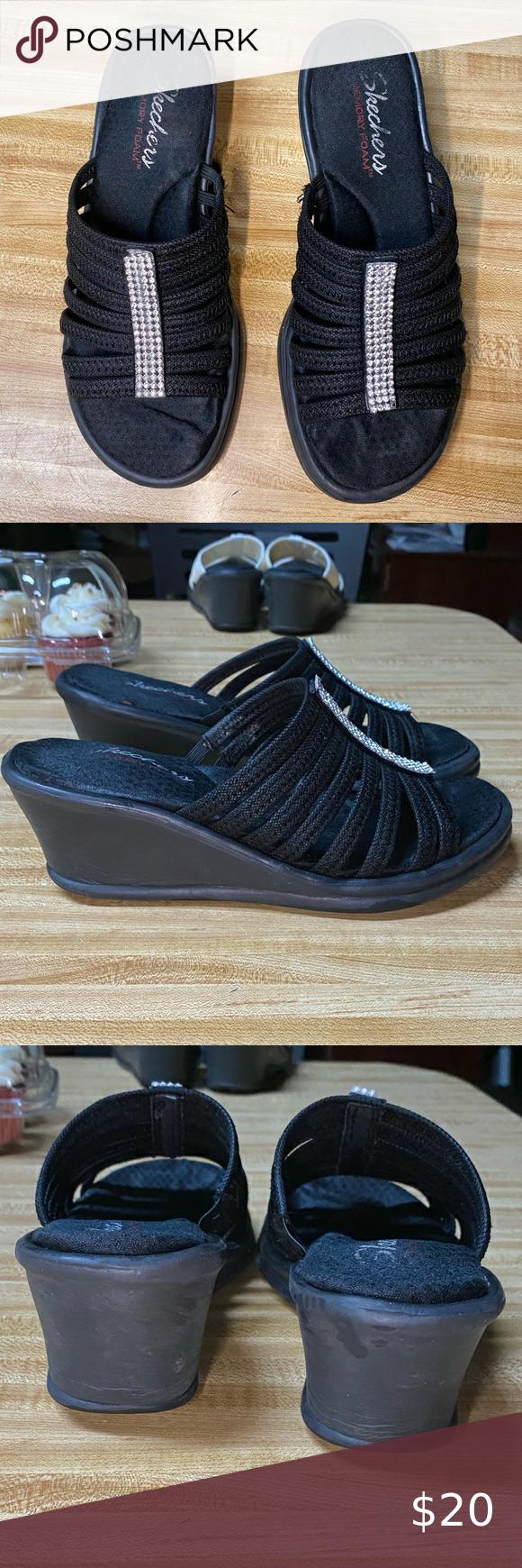 Skechers Rhinestone Wedge Sandals in