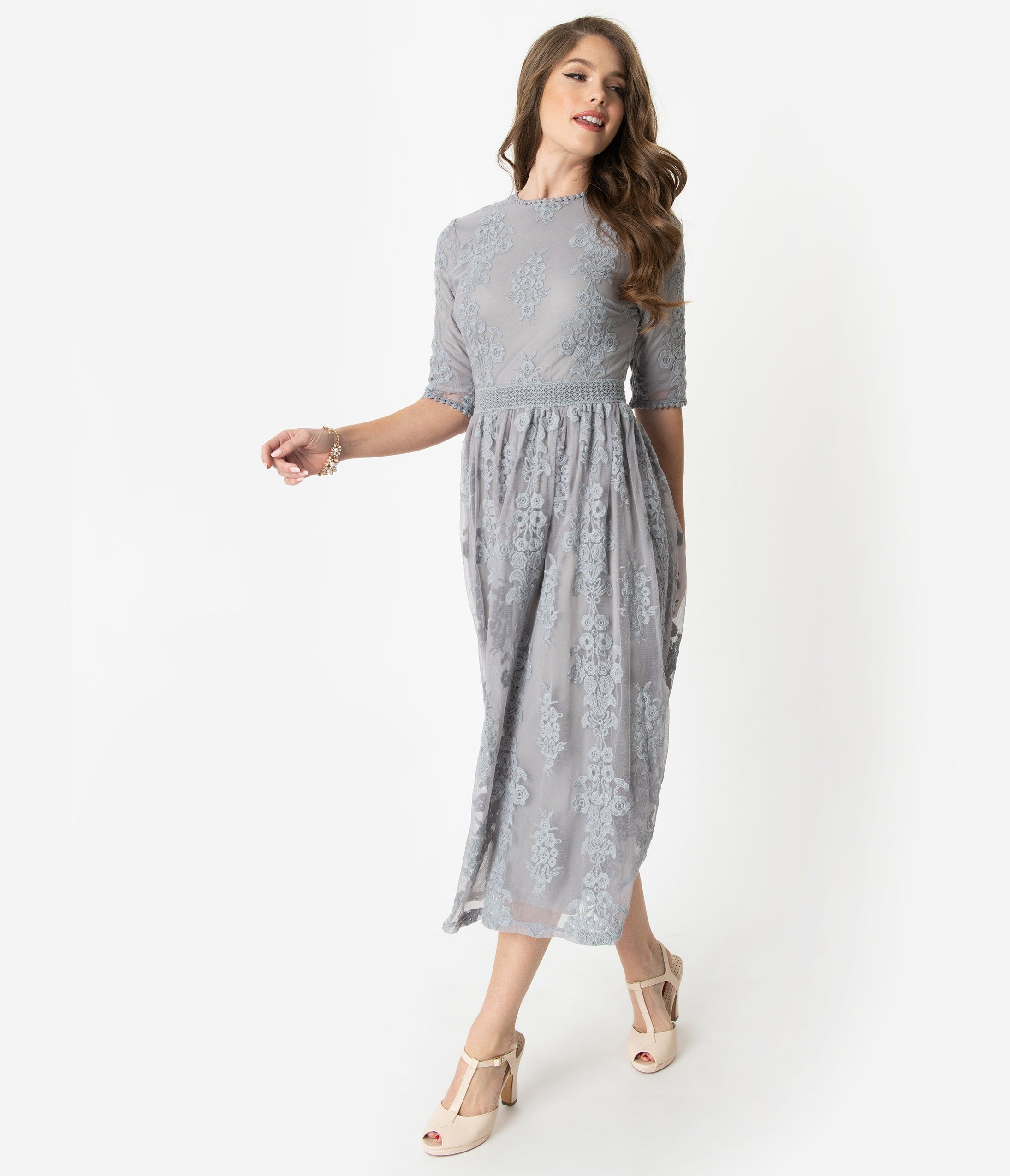 Vintage Style Sage Blue Embroidered Lace Modest Midi Dress Unique Vintage Modest Midi Dress Lace Dress With Sleeves Grey Midi Dress [ 2550 x 2190 Pixel ]