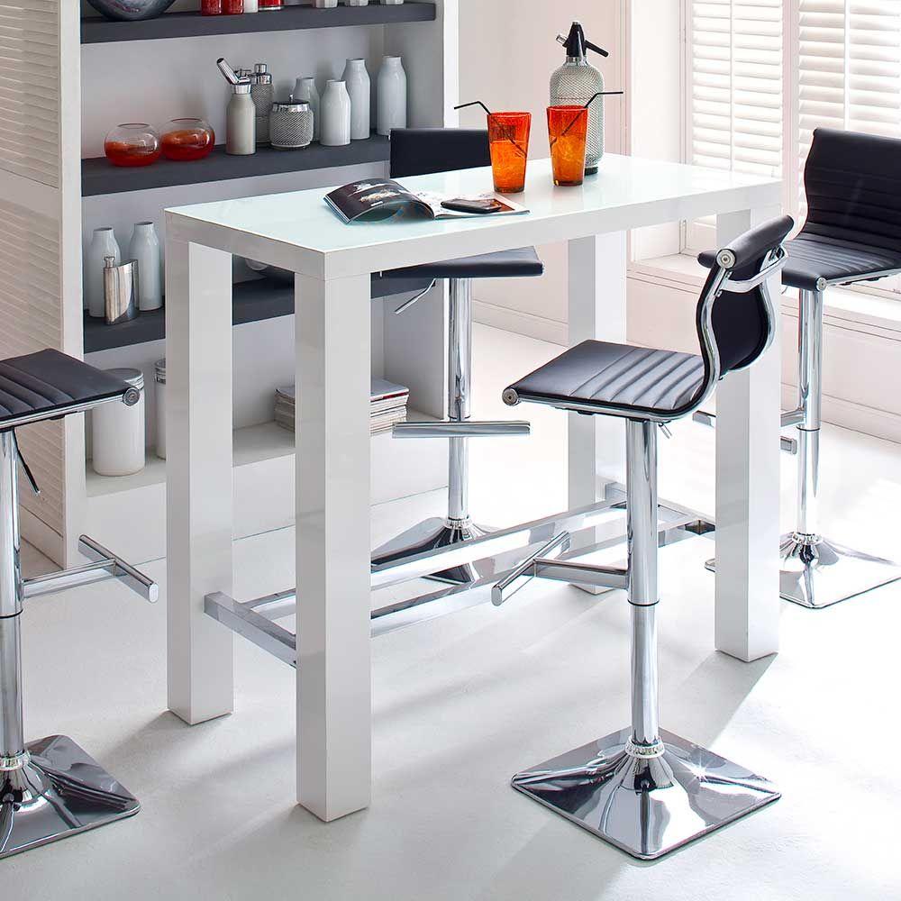 Küchenbartisch mit Glasplatte Weiß Hochglanz Jetzt bestellen unter ...